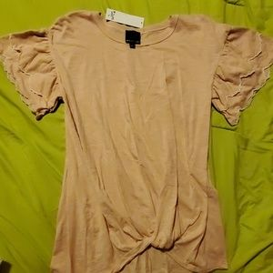 Dusty rose knotted front shirt.